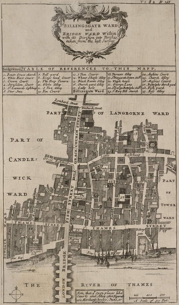 Billingsgate ward and Bridge ward within with it's division into parishes, taken from the last survey (1720)